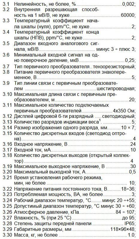 Технические характеристики ТЕНЗО-М ТВ-006А