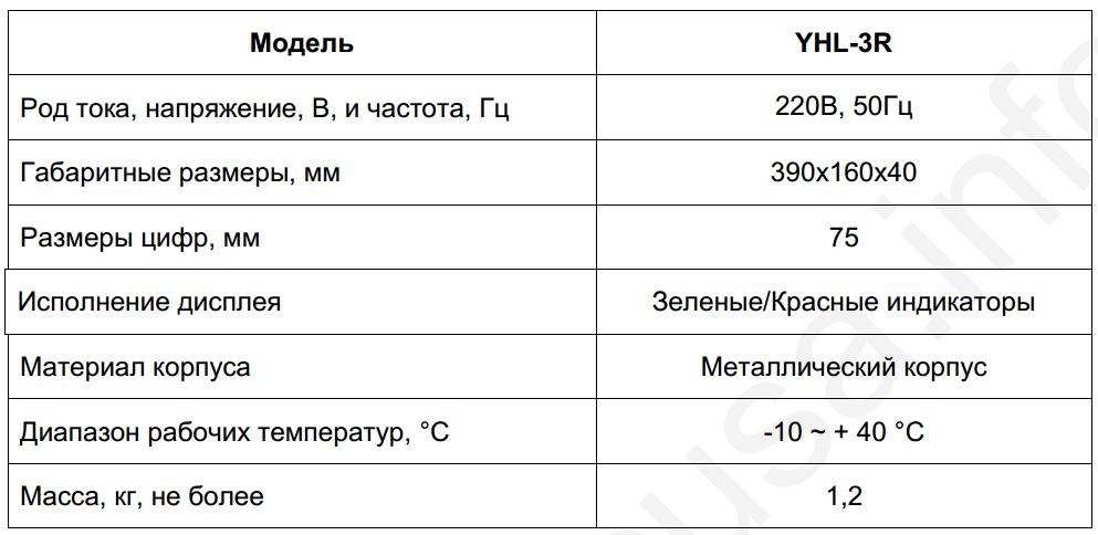Технические характеристики табло ZEMIC YAOHUA YHL-3R