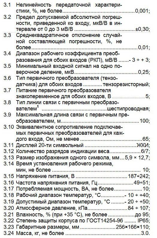Технические характеристики ТЕНЗО-М ТВ-018
