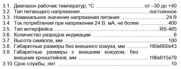 Технические характеристики ТЕНЗО-М ВТ-100
