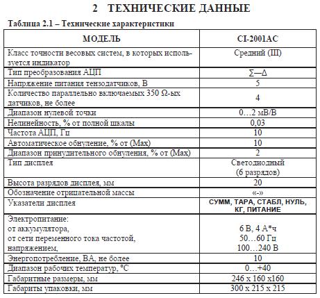 Технические характеристики CAS CI-2001AC