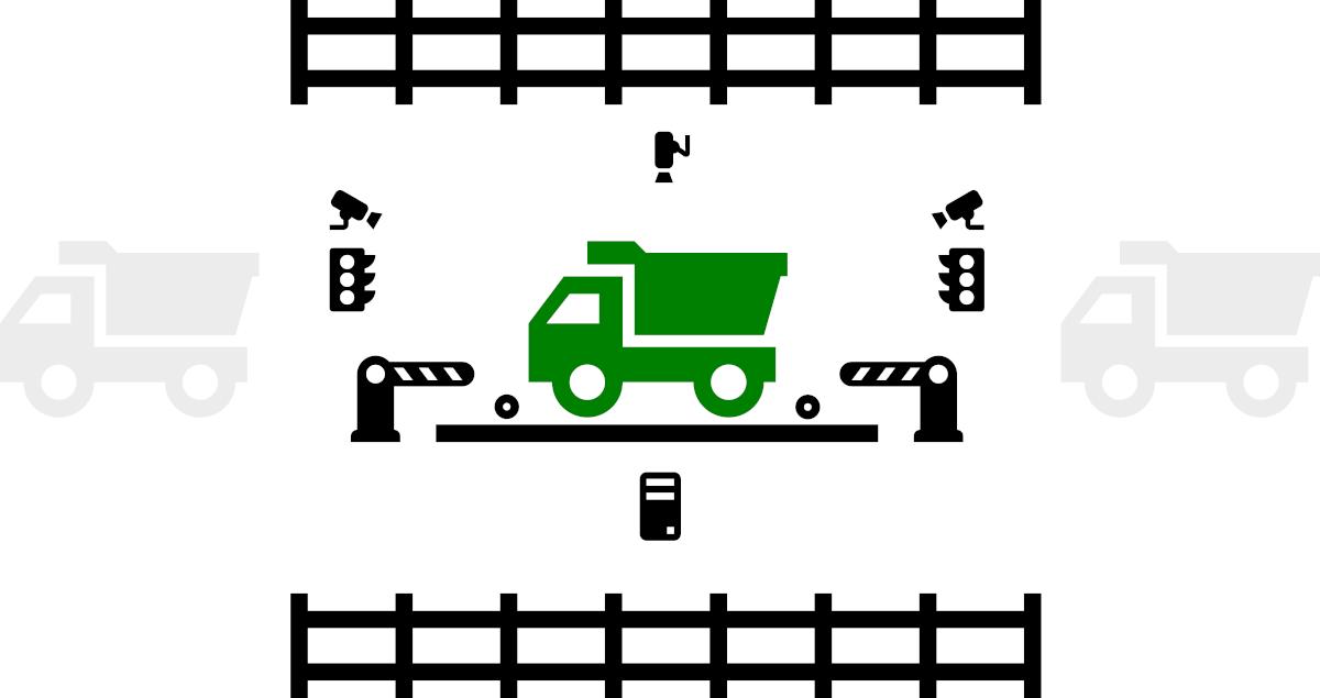 схема организации учёта на автомобильных весах с полной автоматизацией, работающая без оператора