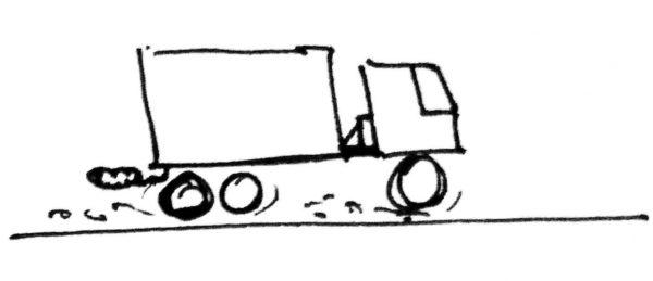 Рисунок автомобиля, проезжающего по весам